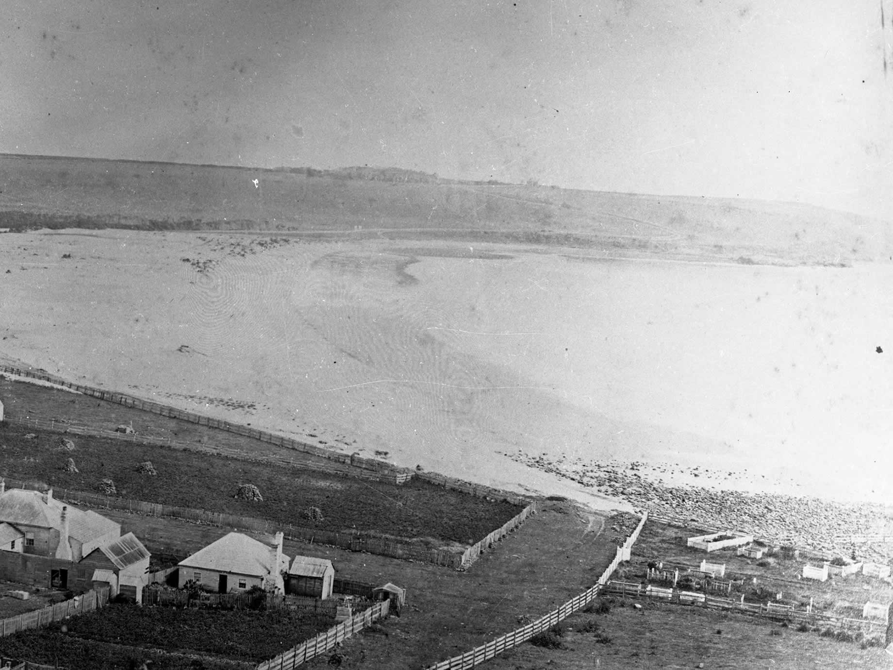 An aerial view of the Stanley Burial Ground near Godfrey's beach