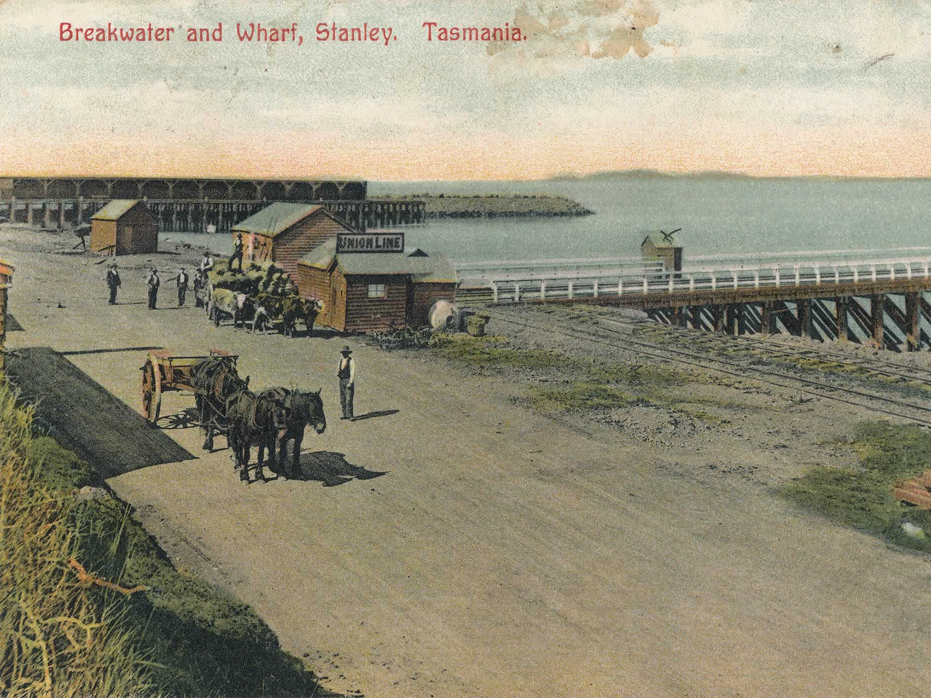 Breakwater and main wharf postcard from the base of The Nut