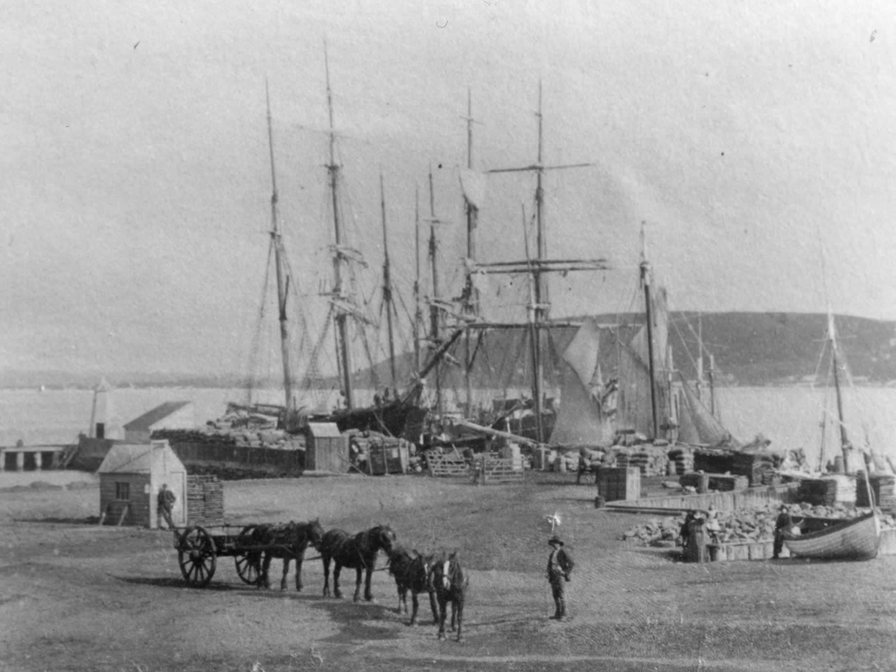 Pioneer shipping at the Little Wharf in 1890