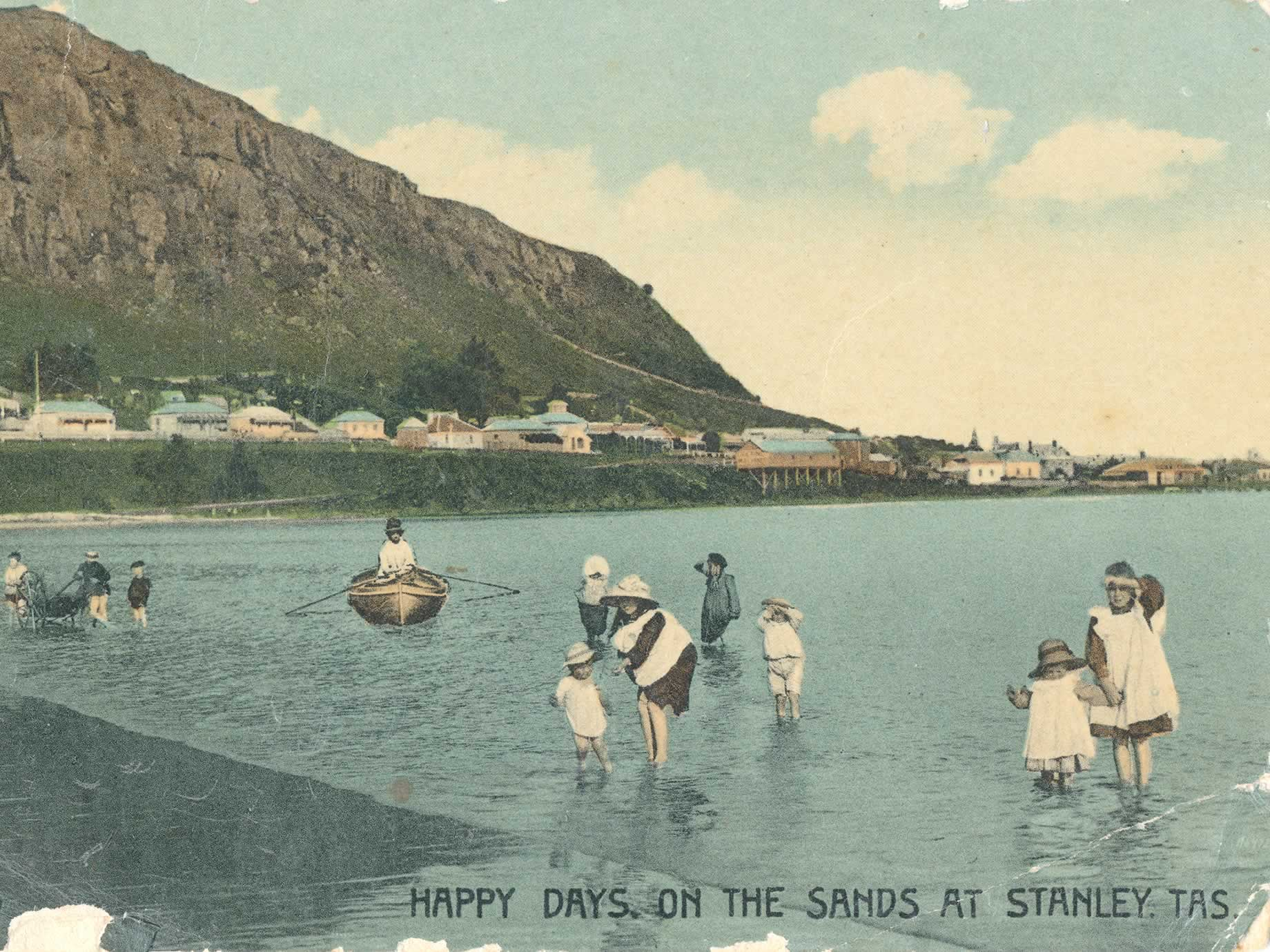 Postcard picture of families enjoying the water of Sawyer Bay, c1910