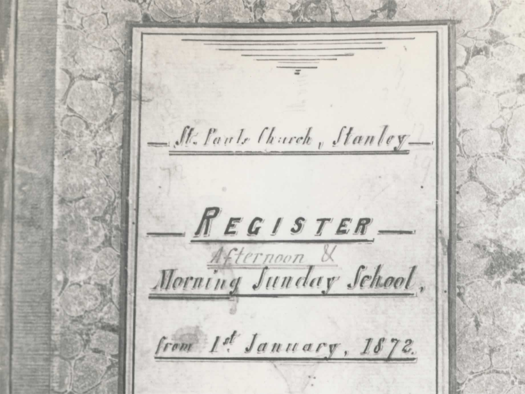 St Paul's register for Morning Sunday School, 1872