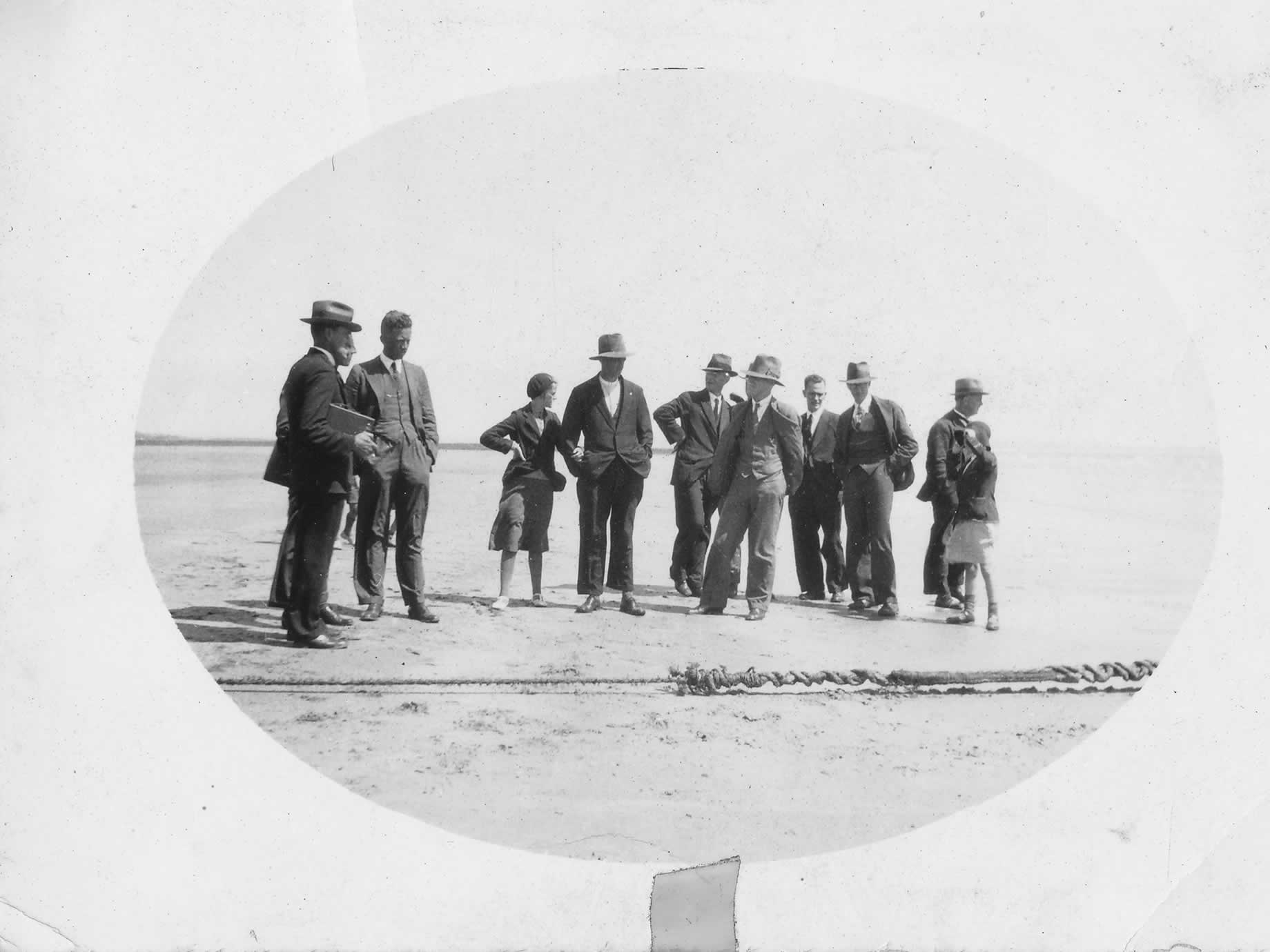 Onlookers viewing the original cable which came from Apollo Bay in Victoria to Stanley via King Island in 1936, with a young Meg in the crowd
